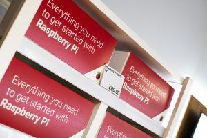 A shelf of Raspberry Pi Starter Kits