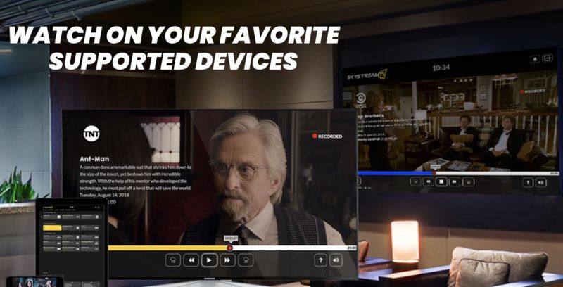 Image from the website of SkyStream TV, a streaming video provider. The image shows the video service on a TV, tablet, and phone, with text that says,