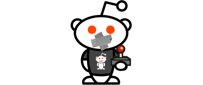 "An official Reddit ""Snoo"" mascot was used to advertise the site's gaming content in 2018. Today, it's got duct tape on its mouth for a reason."