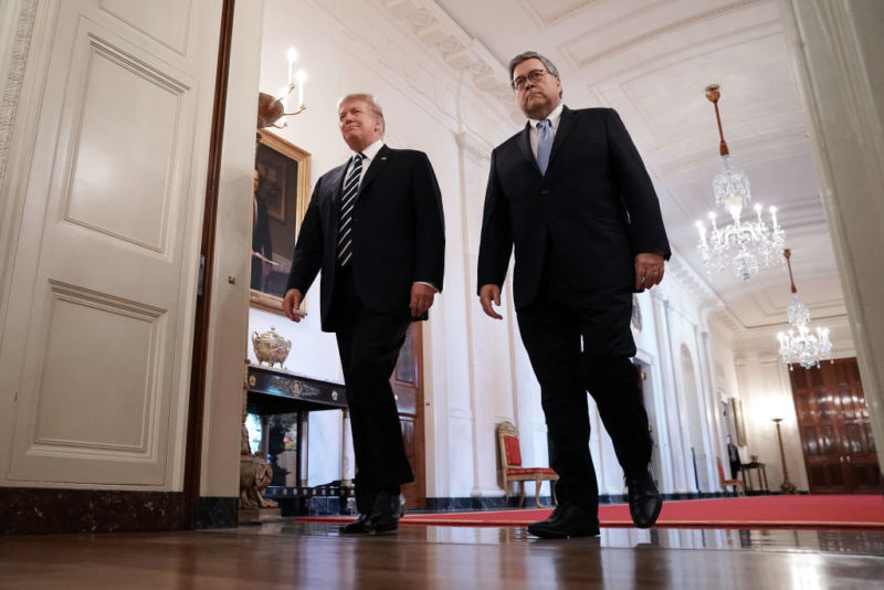 """Trump's memorandum to agency heads gives Attorney General William Barr authority to declassify or downgrade classification of anything he sees fit in his investigation into """"intelligence activity"""" around the 2016 presidential election."""