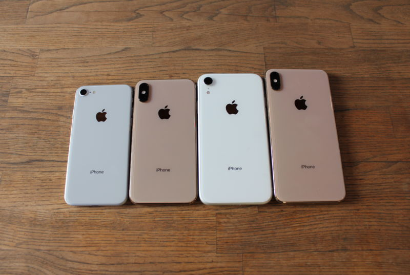 The iPhone 8, the iPhone XS, the iPhone XR, and the iPhone XS Max.