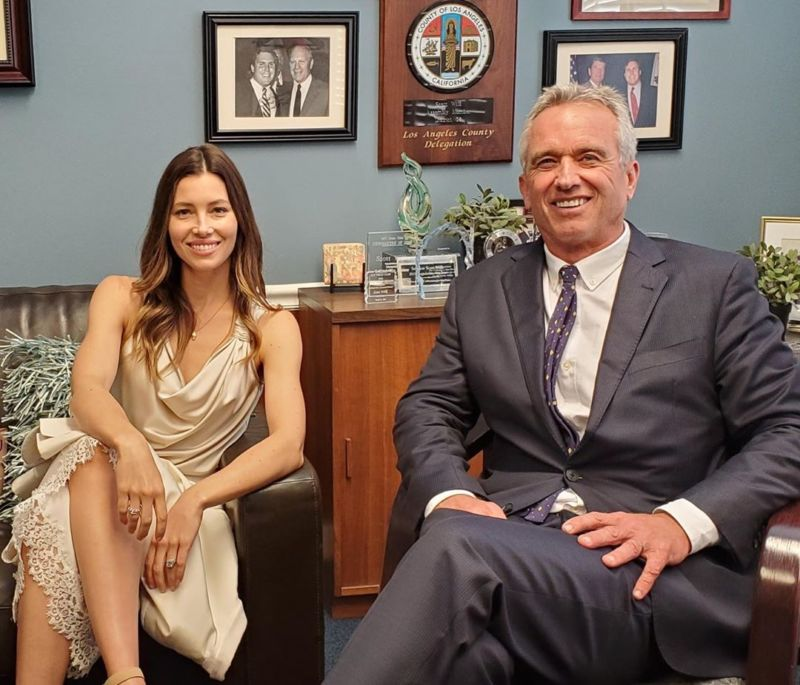 Actress Jessica Biel supporting prominent anti-vaxxer Robert F. Kennedy Jr. in an effort to protect non-medical vaccine exemptions.