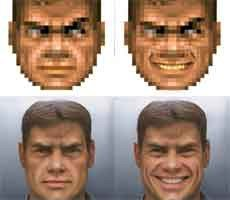 Doom Guy Goes From Pixelated Blob To High-Res Portrait With Neural Network Wizardry