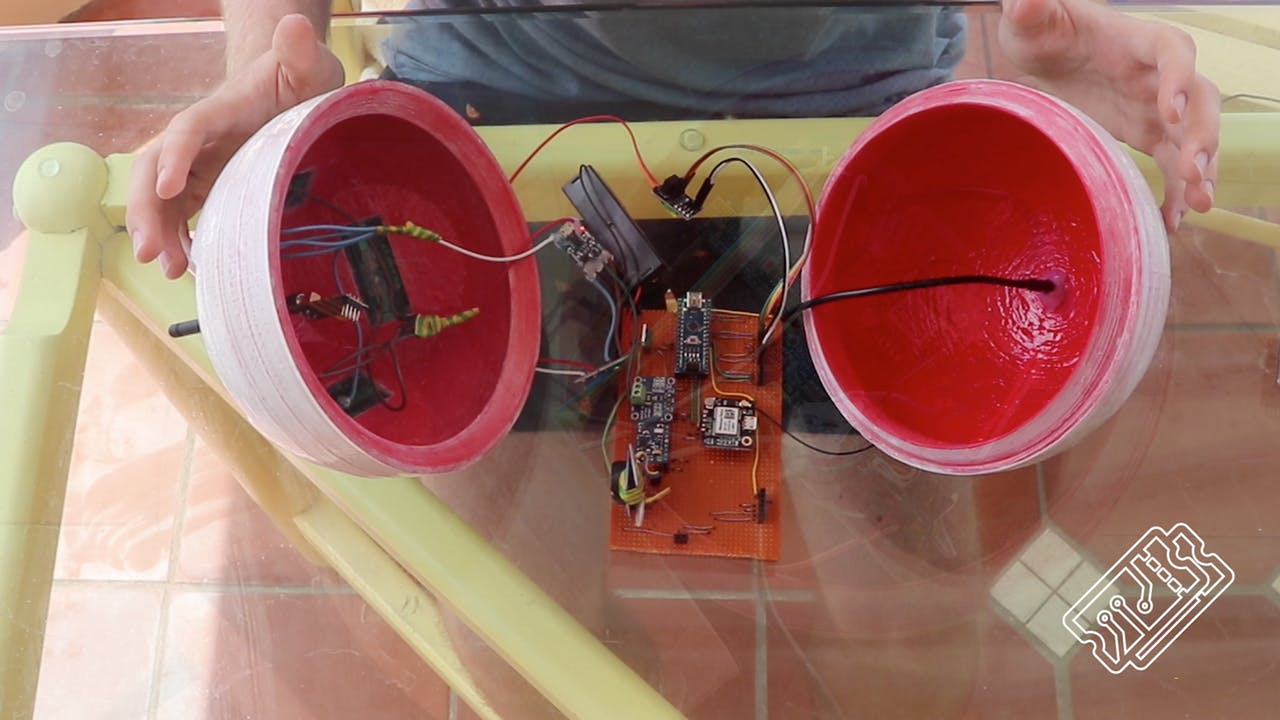 The 3D-printed casing of the smaert buoy with tech inside