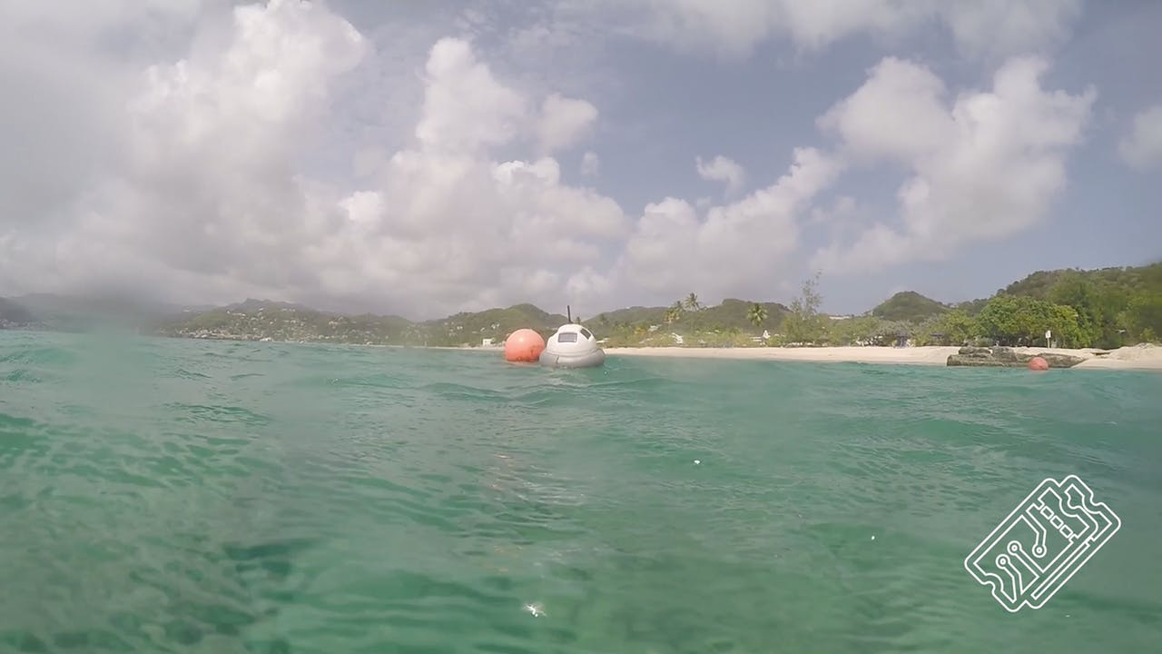 The smart buoy out at sea along the Grenada coast