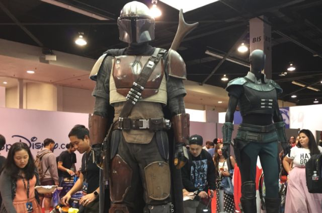 On display: costumes for <em>The Mandalorian</em>, for stars Pedro Pascal and Gina Carano.