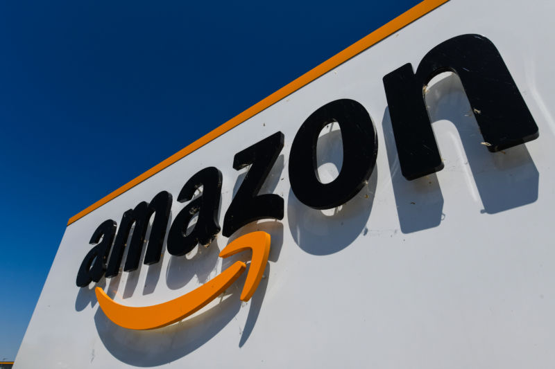 The Amazon logo at the entrance of a logistics center in France, July 2019.