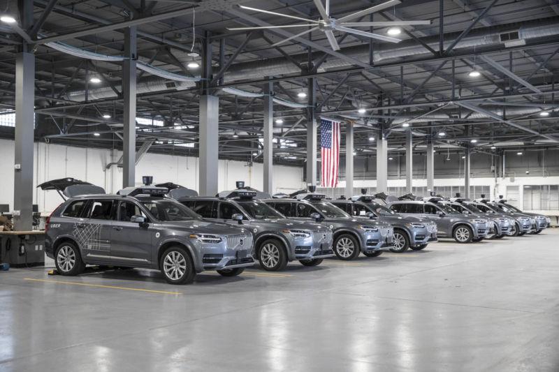 Uber self-driving test vehicles.