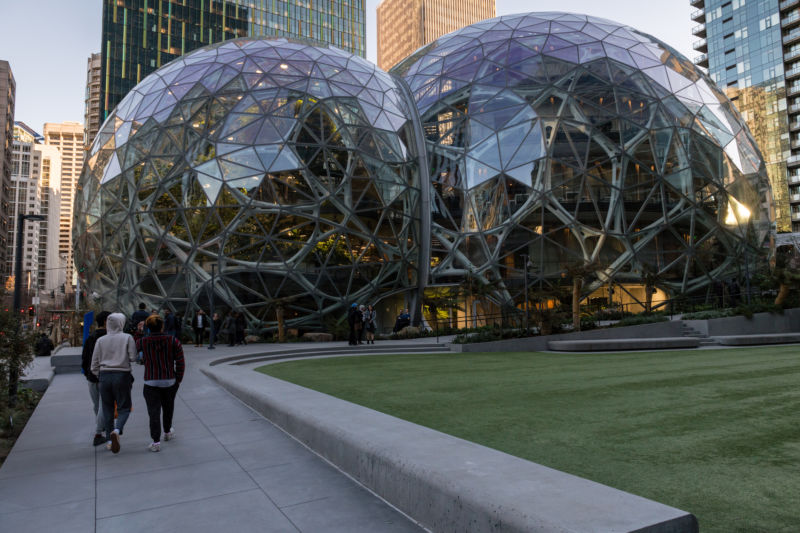 The Amazon Spheres in downtown Seattle.