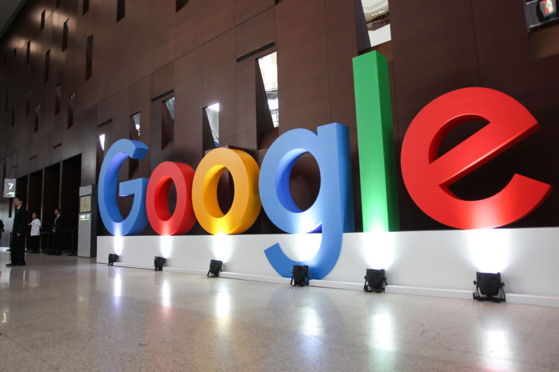 Google logo seen during Google Developer Days (GDD) in Shanghai, China, September 2019.