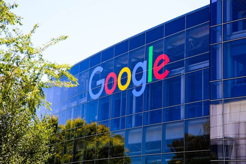 Mountain View, Calif. - May 21, 2018: Exterior view of a Googleplex building, the corporate headquarters complex of Google and its parent company Alphabet Inc.