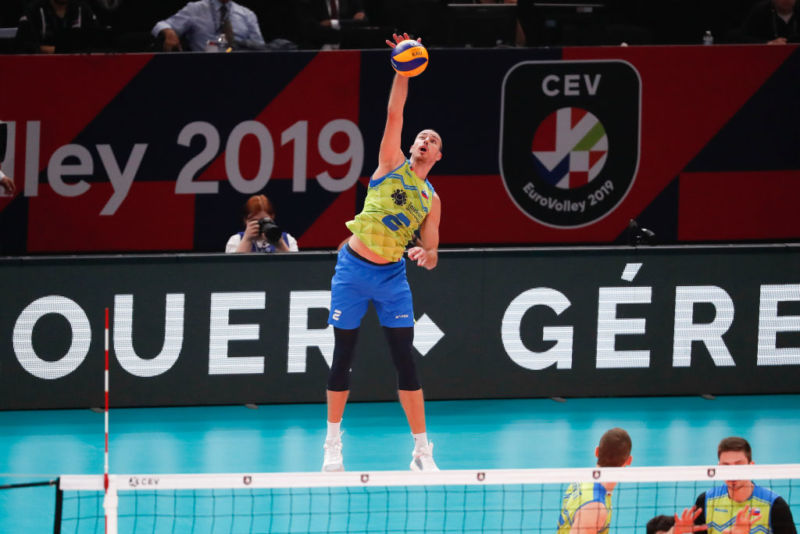 PARIS, FRANCE - Alen Pajenk #2 of Slovenia serves the ball during the EuroVolley 2019 Final match between Serbia and Slovenia at AccorHotels Arena on September 29, 2019 in Paris, France.