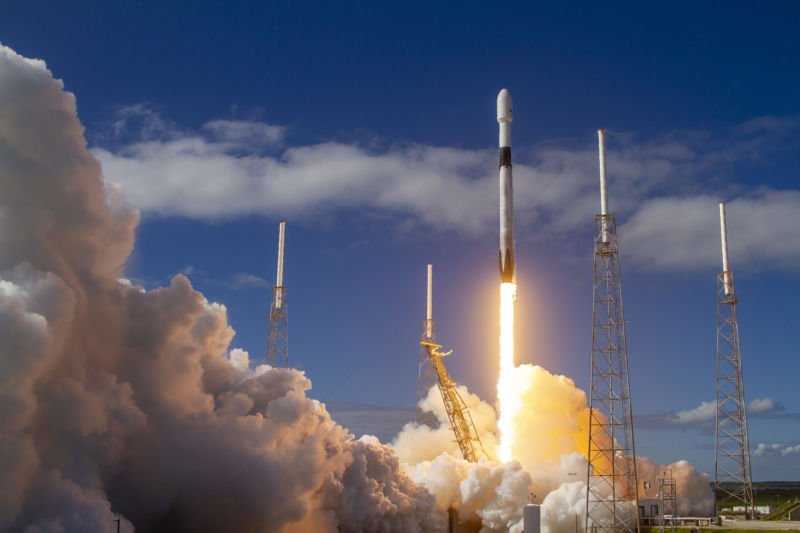 A Falcon 9 rocket launches a Starlink mission on Nov. 11, 2019.