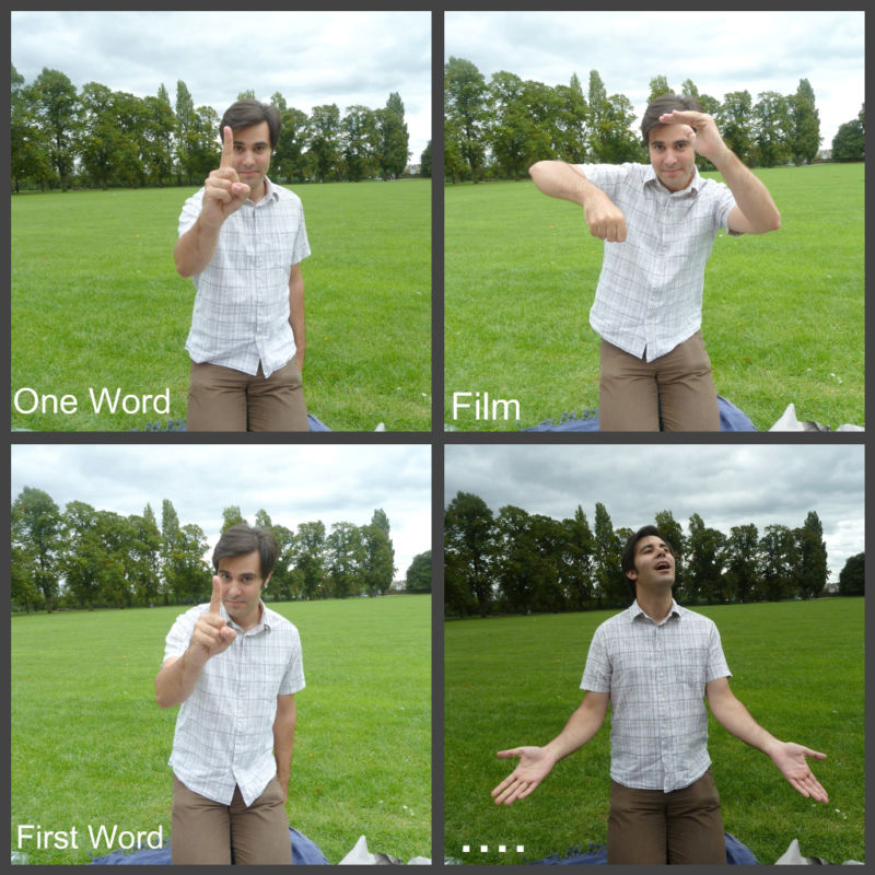 Kids playing charades develop core features of language