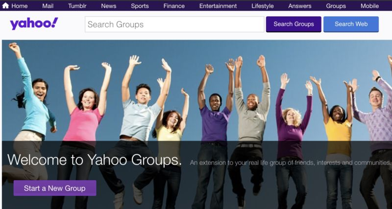 Screenshot of the Yahoo Groups home page, showing a collection of people jumping in the air and a message that says,
