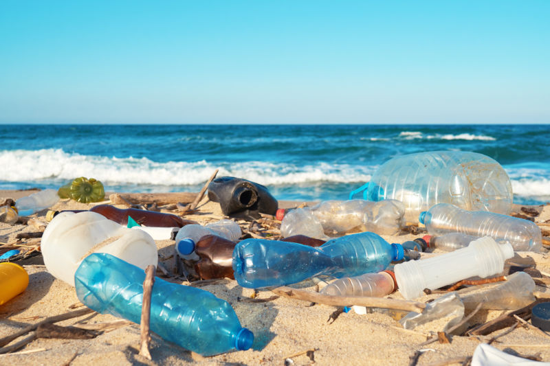 Spilled garbage on the beach off the Black Sea in Bulgaria.