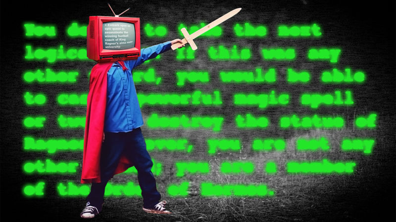 A child with TV for a head wields a toy sword