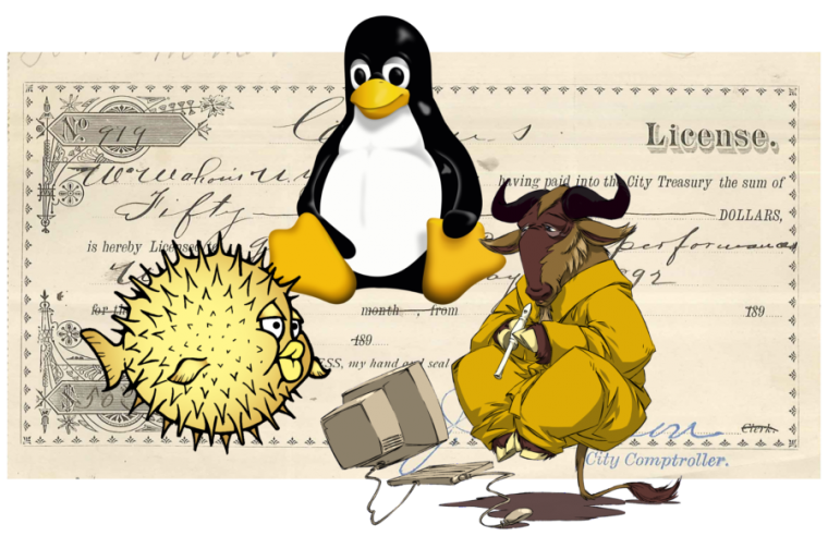 Most open source projects are vastly more restrictive with their trademarks than their code. OpenBSD's Puffy, Linux's Tux, and the FSF's Meditating Gnu are among the few FOSS logos that can easily and legally be remixed and reused for simple illustrative purposes.