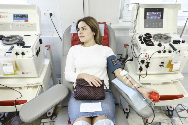 Image of a woman donating blood.