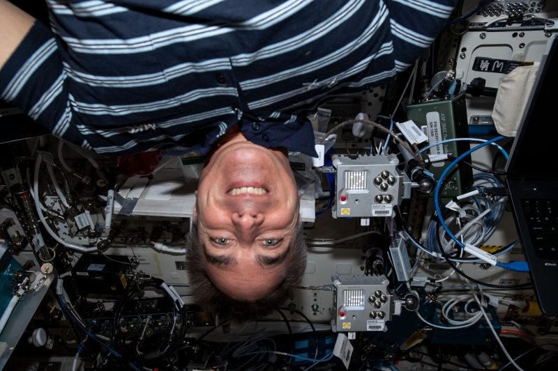 ESA astronaut Chris Cassidy with an Astro Pi computer aboard the ISS