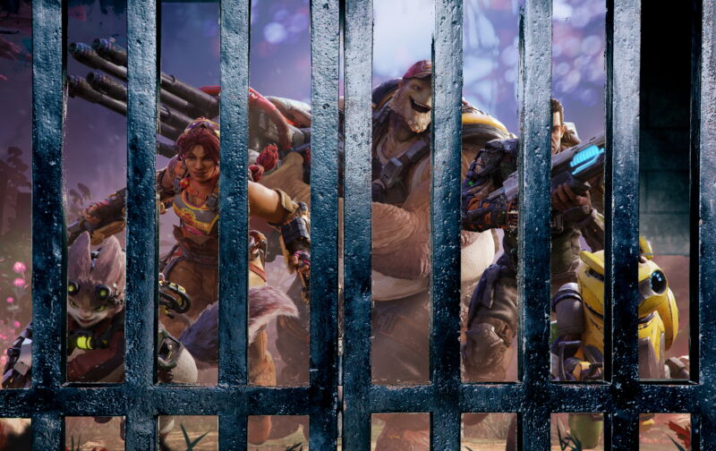 Tough-looking video game characters are trapped behind prison bars.