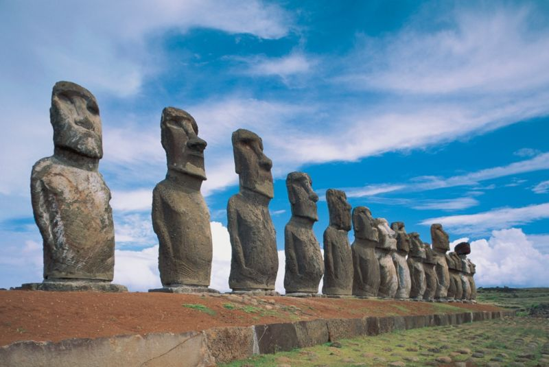 Moai statues in a row, Ahu Tongariki, Easter Island, Chile.