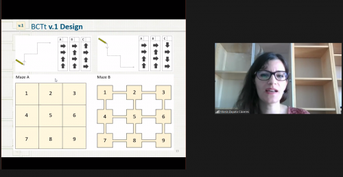 Screenshot from an online research seminar about computational thinking with María Zapata Cáceres