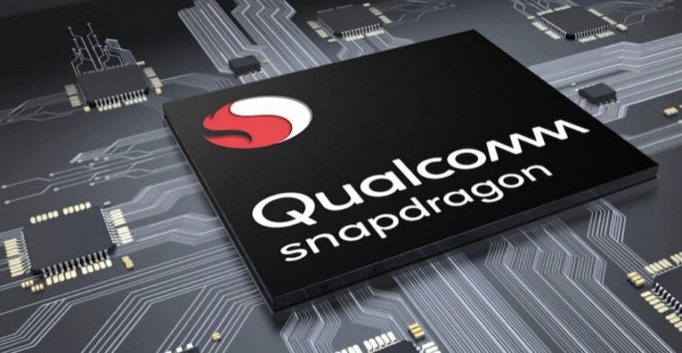 Stylized promotional image of a Qualcomm computer chip.
