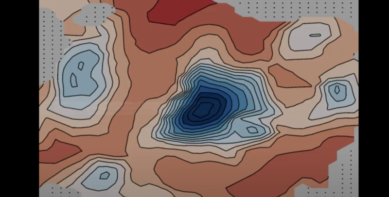 Red and blue color-coded contour lines depict under-ice lakes.