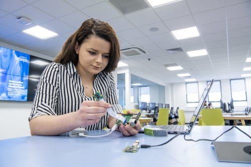 Female engineer with Raspberry Pi device. Copyright © University of Southampton
