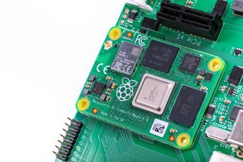 Compute Module 4 mounted on the IO Board
