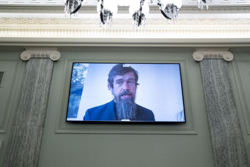 A man with a massive beard talks on a flatscreen between a pair of faux columns.