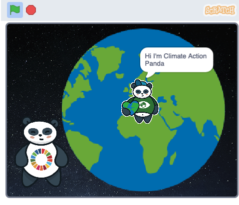 Screenshot of a Scratch project showing a panda and the Earth