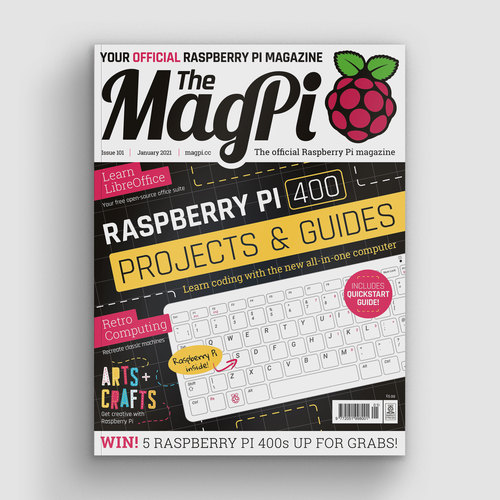 The front cover of the magazine featuring Raspberry Pi 400