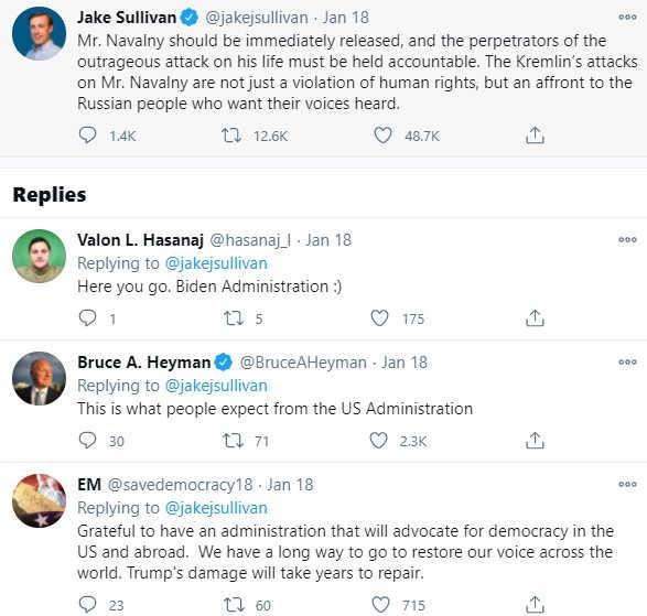 Screenshot from Jake Sullivan's Twitter post