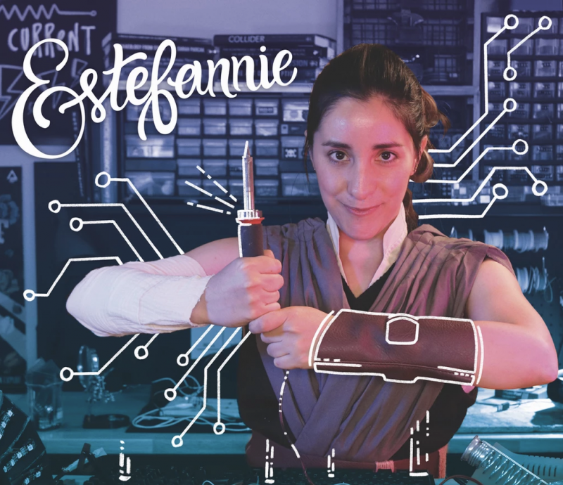 Estefannie dressed up as Rey from Star Wars for the 2021 princesses with powertools calendar