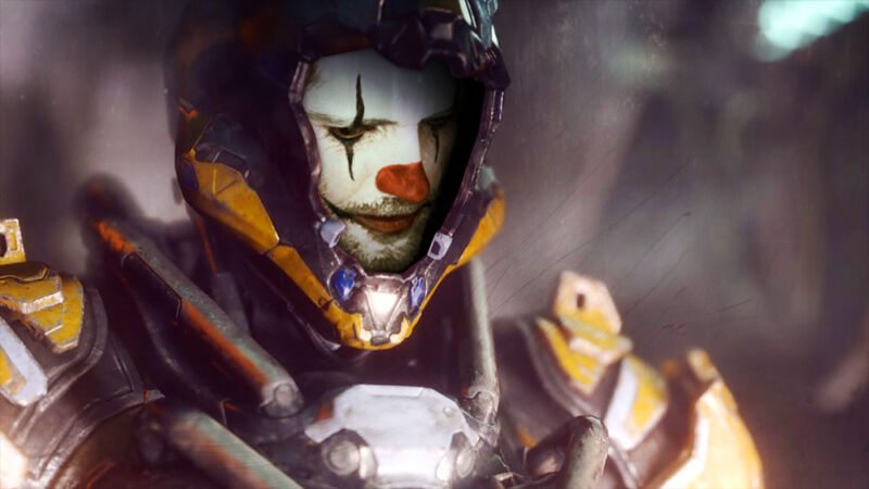 The face of a video game character has been photoshopped too look like a clown.