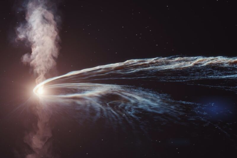 The remains of a shredded star formed an accretion disk around the black hole whose powerful tidal forces ripped it apart. This created a cosmic particle accelerator spewing out fast subatomic particles.