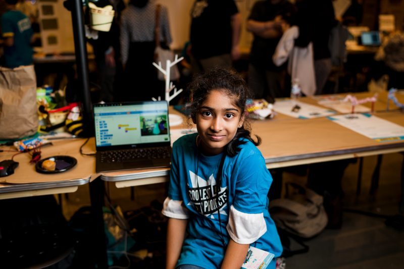 A girl presenting a digital making project at a Coolest Projects event