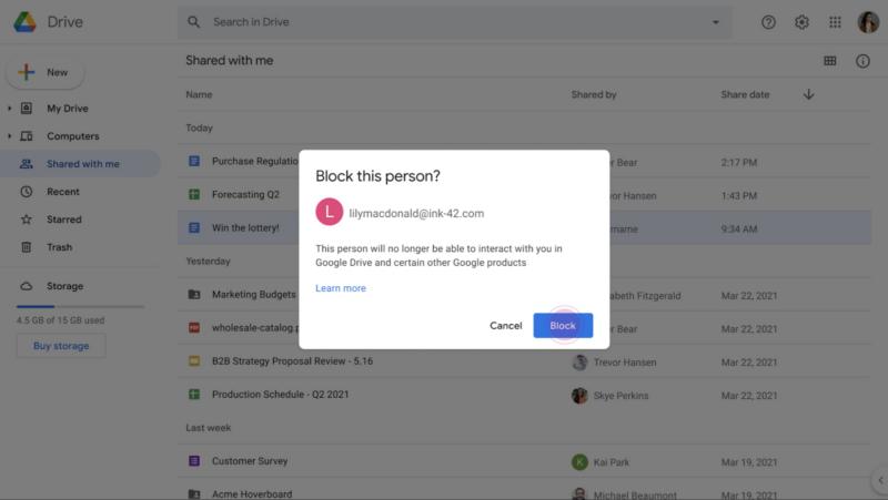 Blocking individual users in Google Drive! Finally!