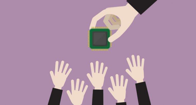 Cartoon hands reach for a cartoon computer processor being dangled above them.