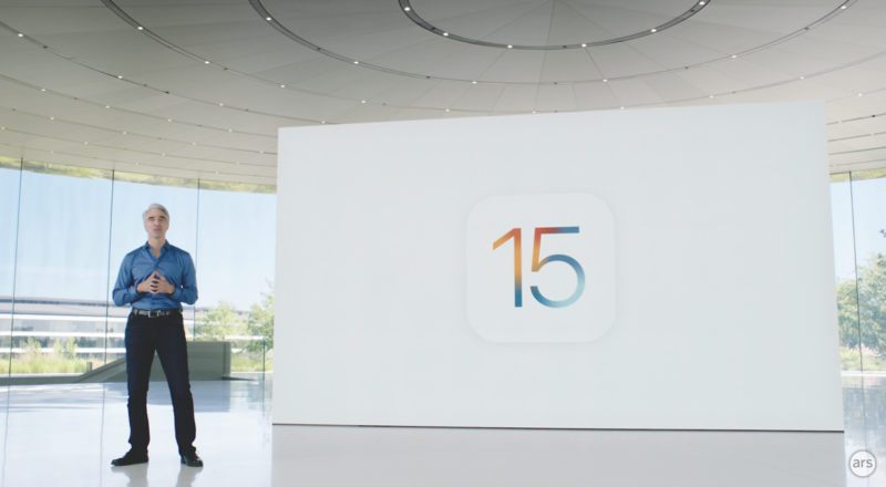 Apple executive Craig Federighi unveiled iOS 15 this summer. That version is coming later this year.