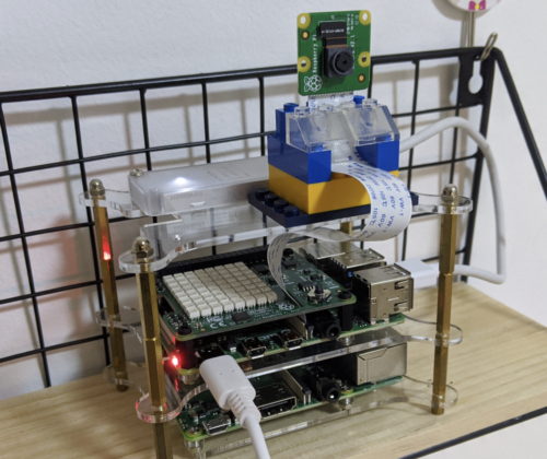 HIIT Pi running on Raspberry Pi and a Raspberry Pi camera module, propped up on a shelf