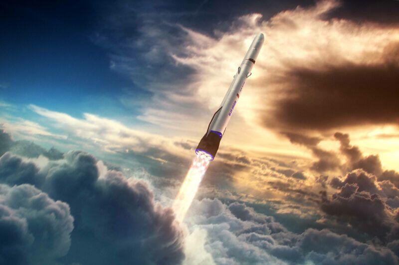A rocket pierces a cloud-filled sky.