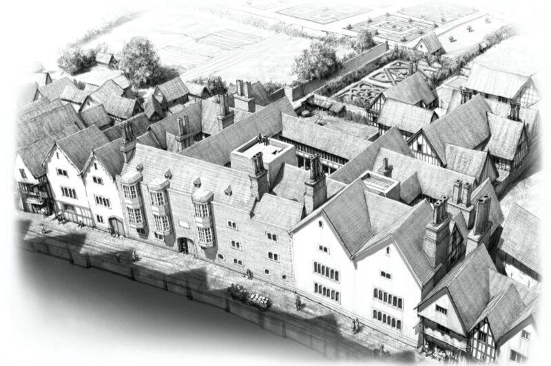 Artist's reconstruction of Thomas Cromwell's mansion on Throgmorton Street in 1539, London, England.