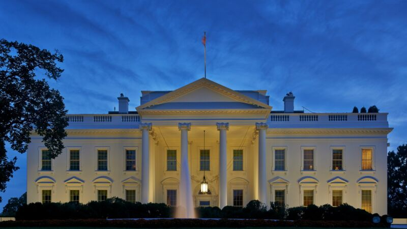 The White House seen in the early evening.