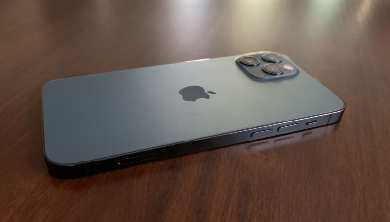 The side of the iPhone 12 Pro with the volume buttons