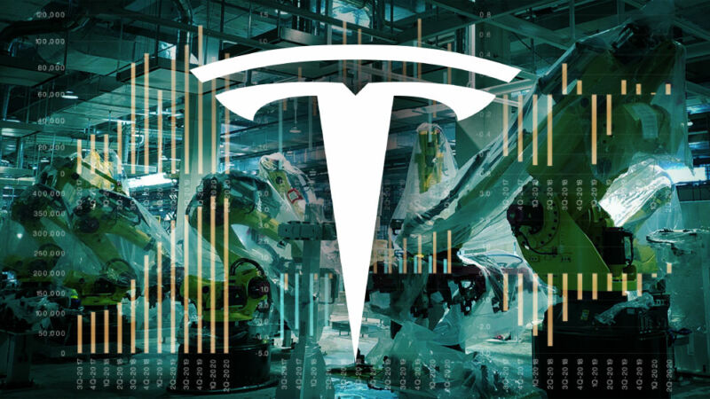 A Tesla logo superimposed over a mess of numbers and figures.