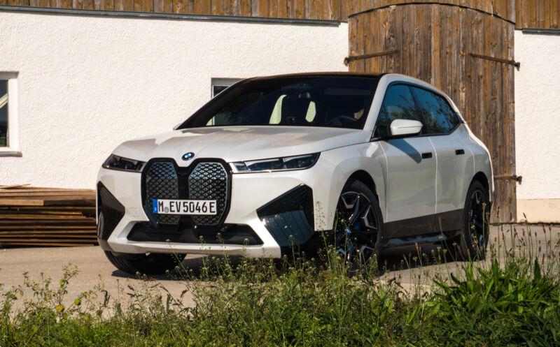 A white BMW iX