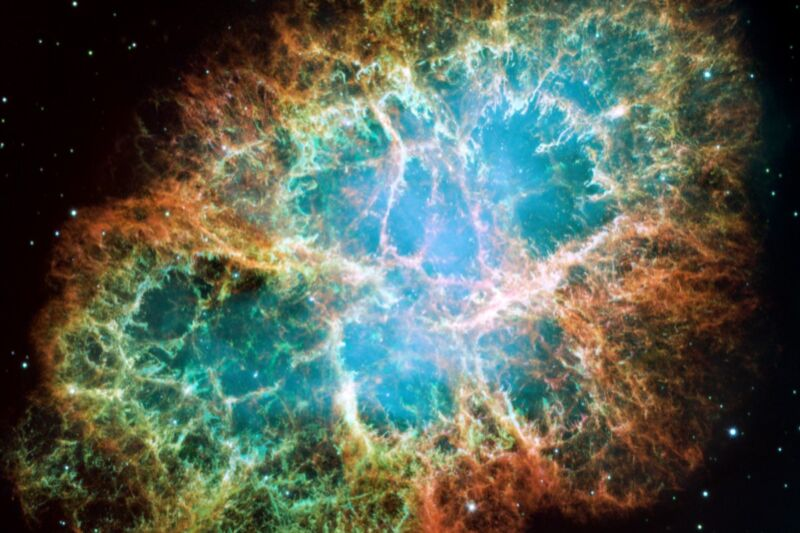 Hubble Space Telescope mosaic image of the Crab Nebula, a six-light-year-wide expanding remnant of a star's supernova explosion in 1054 CE